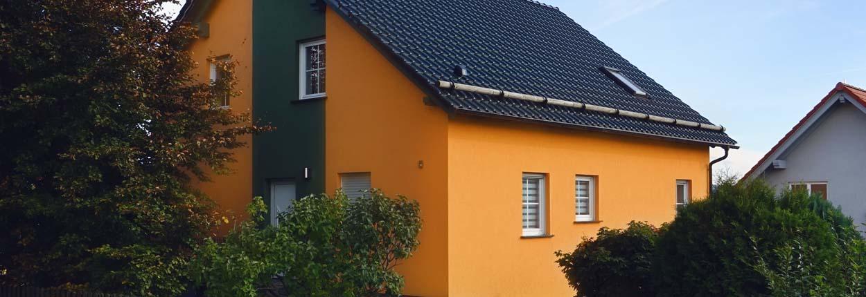 Fassadengestaltung einfamilienhaus grau orange  Fassaden | Malerbetrieb Krannich Ilmenau